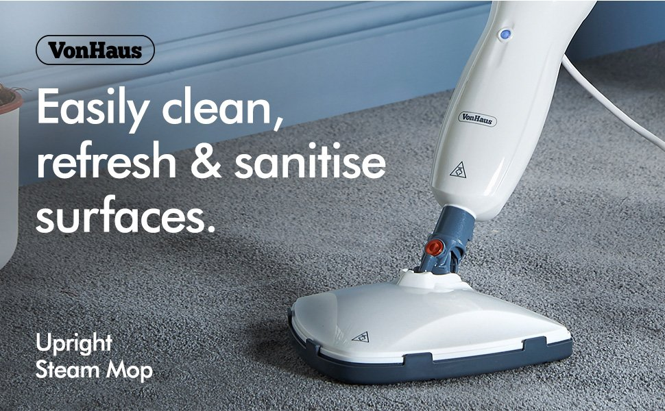 VonHaus White Upright Steam Mop Floor Cleaner Review